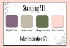 Artichoke, Pink Pirouette, Perfect Plum, Sahara Sand