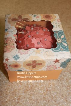 Cupcake inside of 3D box created with the CTMH Exclusive Artiste Cricut Cartridge.  Fun Fun Fun!!!!  For more products, check out my website online at www.kristie.ctmh.com