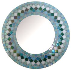 Round Mosaic Wall Mirror Choose size Teal Green by SunAndCraft
