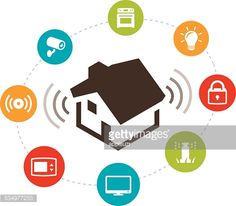 Concept illustration of a smart home. Illustration, home automation,. Iot Icon, Wireless Security, Security Alarm, Make Your Own Logo, Aging In Place, Smart Home Automation, Logo Maker, Art Logo, Illustration