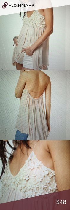 Nwt beautiful Free People lace top An adorable blush top with lace in a soft and delicate silhouette. Super stunning! Brand new in stores now. Free People Tops