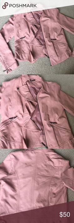 Pink stylish leather jacket Light pink soft leather jacket. Love the accent and way that the front looks. Size small Nordstrom Jackets & Coats