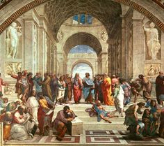 The School of Athens - Raphael (Raffaello Sanzio). This painting includes the classic members of the school( Socrates, Aristotle, Plato and Averroes) plus the Renaissance figures of Da Vinci, Michangelo, and Raphael