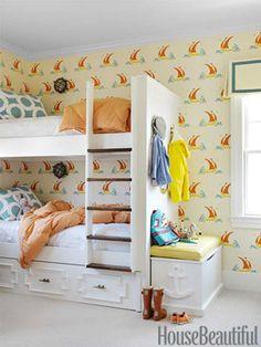 "Katie Ridder's Beetlecat wallpaper gives a boys' room a playful but ""not overly cute"" feel, says designer Mona Ross Berman."