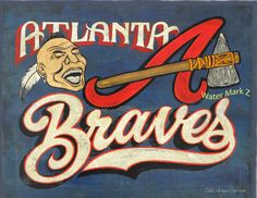 Atlanta Braves baseball Print & MAT, original, art,  faux vintage, wall hanging, sports decor.