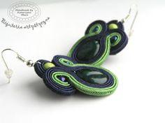 www.facebook.com/... Rękodzieło-biżuteria sutasz. Handmade-soutache jewellery. #green #verde #valentinesday #earrings #kolczyki #walentynki #zielony #prezenty