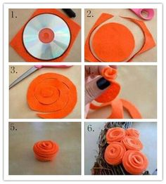 DIY Felt Roses, Felt Flowers, Diy Flowers, Fabric Flowers, Diy Baby Headbands, Diy Headband, Paper Flower Patterns, Tissue Paper Flowers, Flower Template