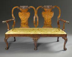 A George I burr walnut double chair back  settee. English, circa 1720