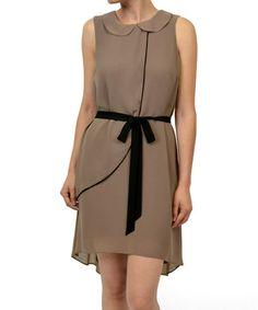 Another great find on #zulily! Mocha & Black Collar Waist-Tie Sleeveless Dress #zulilyfinds