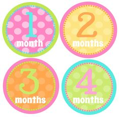 Monthly Baby Onesie Stickers-Baby Month Stickers-Great Baby Shower Gift- Pink Pastels Dots-Just Born Sticker Included. $8.50, via Etsy.