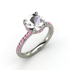 Rock Crystal + Pink Sapphires + White Gold Carrie Ring