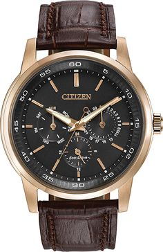 Clean lines, instantly convey a look destined to become a classic, featured in these handsome new men's CITIZEN® Eco-Drive Dress watches (BU2013-08E) $325