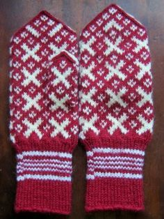 I like the red and white. Mittens Pattern, Knit Mittens, Knitting Socks, Mitten Gloves, Hand Knitting, Knitting Patterns, Knit Socks, Norwegian Knitting, Hand Wrist