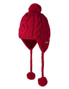 Red knitted hat with pompon - Barts