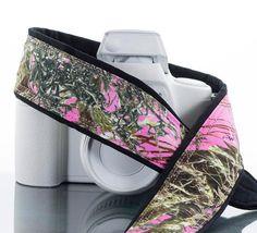 dSLR Camera Strap Pink Camo Camouflage SLR Canon camera by ten8e