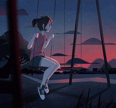 "roastedstix: ""just keep swinging "" – Her Telden News Gifs, Digital Art Girl, Aesthetic Gif, Anime Scenery, Anime Art Girl, Cute Drawings, Pixel Art, Amazing Art, Character Art"