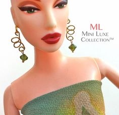 Doll Jewelry for Fashion Royalty Dolls, Poppy Parker, Barbie -- Green Dangle Earrings by MiniLuxeCollection, $12.00