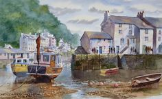 Polperro in Cornwall by Terry Harrison Watercolor Painting Techniques, Watercolor Artists, Painting Lessons, Watercolor Landscape, Landscape Art, Painting & Drawing, Watercolour Paintings, Watercolours, Small Paintings