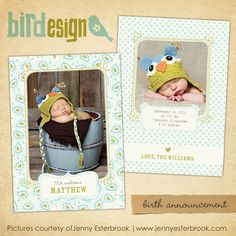 INSTANT DOWNLOAD Birth announcement Photoshop por birdesign