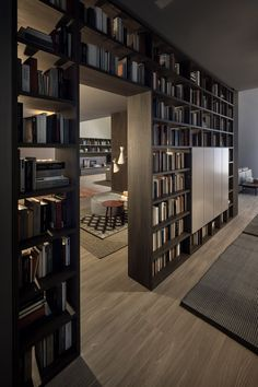 Bookcase as room divider - bookcase ideas, bookcase design, bookcase clipart Home Library Rooms, Home Library Design, Home Room Design, Dream Home Design, Home Office Design, House Rooms, Modern House Design, Home Interior Design, Small Home Libraries