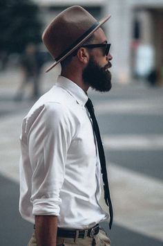 menswear white shirt and brown trilby
