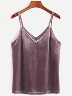 SheIn Women's Casual Basic Strappy Velvet V Neck Cami Tank Top Small Purple: Size Chart:br X-Small: Bust: Length: br Small: Bust: Length: br Medium: Bust: Length: br Large: Bust: Length: br Velvet Tank Top, Velvet Cami, Velvet Tops, Purple Velvet, Cami Tops, Fancy Tops Online, Purple Tank Top, Budget Fashion, Fashion 2018