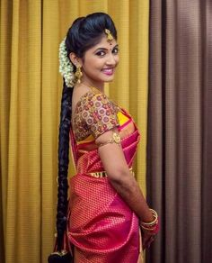 Traditional Southern Indian bride wearing bridal silk saree, jewellery and hairstyle. Braid with fresh flowers. So beautiful! South Indian Wedding Hairstyles, Bridal Hairstyle Indian Wedding, South Indian Bride Hairstyle, Bridal Hairdo, Indian Bridal Makeup, Indian Bridal Fashion, Wedding Makeup, Indian Marriage Makeup, South Indian Makeup