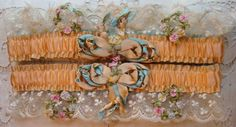 Circa 1920s One Pair Of Exquisite Silk Garters Adorned With Ribbon Rosettes Bows and Lace
