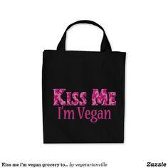 Kiss me i'm vegan grocery tote
