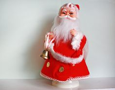 Vintage Rubber Face Santa Claus Music Box from Japan