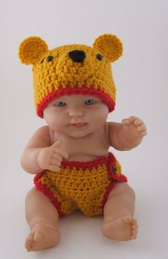 "Winnie the Pooh ""inspired"" Bear Hat &  Diaper Cover  (newborn-3month size)."