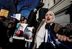 Opposition to Trump travel ban grows as key court decision looms:  February 6, 2017  -      A demonstrator chants during a rally protesting the immigration policies of President Donald Trump, near the White House in Washington, Saturday, Feb. 4, 2017.