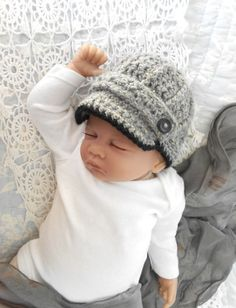 Newsboy Hat baby boy photo prop hat grey by TheStitcheryBoutique, $25.00