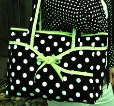 black white polka dot tote or diaper bag by monajune on Etsy, $109.00