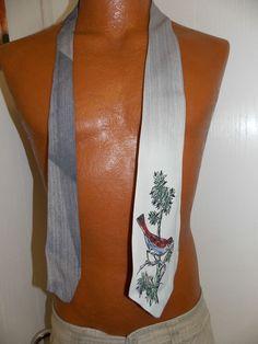 Vintage Rayon or Satin Necktie Handpainted Tie Necktie w/ BIRD 1940's or 1950's #NeckTie