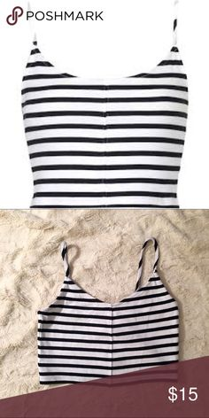 TOPSHOP  | STRIPED CROP Some Like it Striped! | This Striped Cami will become a staple in your wardrobe | So many options | Great Condition ( Like New) | Bought the last one hoping a 6 would fit, no luck #IBTCproblems  Topshop Tops Crop Tops