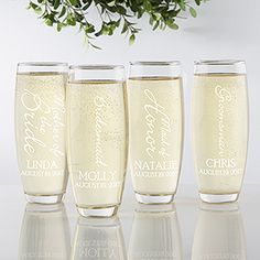 "LOVE these Personalized Wedding Glass Stemless Champagne Flutes - this ""Bridal Brigade"" design is so cute! You can personalize it for every one in the wedding party!"