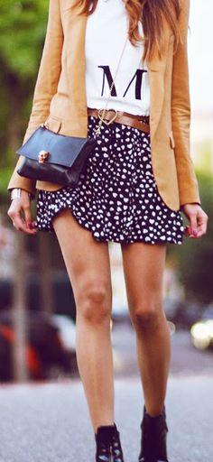 Belted skirt + blazer
