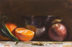 daily painting titled Still life with Black bowl, clementines and mangosteen, Julian Merrow-Smith Painters Studio, Daily Painters, Food Painting, Painting & Drawing, Black Bowl, Still Life Fruit, Painting Still Life, Fruit Art, Art Gallery