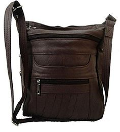 "Brown Leather Concealed Carry Handbag Roma 7082. Right hand or left hand draw. Lockable zippers for weapon compartment, with extra keys (4 total). Includes universal holster with velcro strap. Adjustable shoulder strap suitable for cross body carry. 12"" wide x 9"" high."