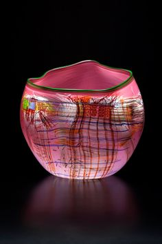 Dale Chihuly, Rose Soft Cylinder with Forest Green Lip Wrap
