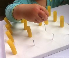 geoboard with pasta for toddlers too young