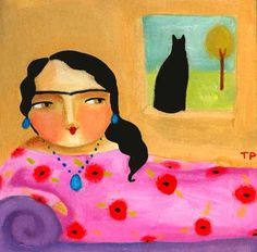 LOUNGING FRIDA KAHLO WITH CAT original on wood  by tascha on Etsy