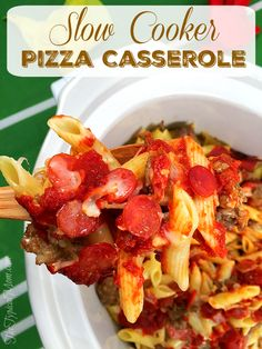 Slow cooker pizza casserole recipe that is SO easy to make and our favorite meal…