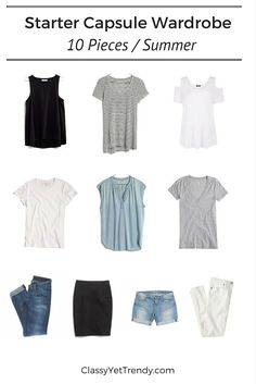 """Start your capsule wardrobe using just 10 pieces! If you've been on Pinterest or have read some posts here on my blog, chances are you've seen the subject """"Capsule Wardrobes"""". I'm a BIG FAN of capsule wardrobes! They have helped me 1) save on average about $1,000 a year and 2) changed my shopping habits. Having…"""