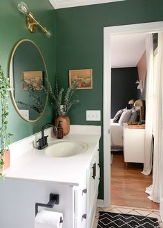 dark green budget bathroom with vintage finds bathroomideas sherwinwilliams eclecticdesign 56787645291170228 Interior, Green Bathroom, Home Remodeling, Small Bathroom Decor, Home Decor, House Interior, Bathroom Interior, Downstairs Bathroom, Bathroom Decor