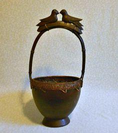 Unique Vintage Carved Wood Lovebird Basket by FineRomance on Etsy, $48.00