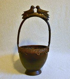 Unique Vintage Carved Wood Lovebird Basket by FineRomance on Etsy, $48.00