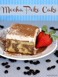 Mocha Poke Cake - Yellow cake is swirled with luscious mocha filling and topped with espresso whipped cream in this delicious #cake!