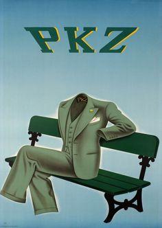 1937 PKZ. A  Swiss clothing company vintage fashion advert poster